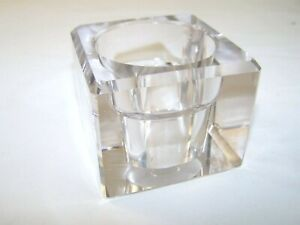 Leaded glass candle holder purple tint paper weight pen holder trinket box