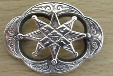Old Ornate Silvertone Unmarked White Metal Brooch, 8 Pointed Star