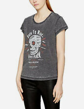 Religion Women's Rock & Roll T-Shirt in charcoal uk sz 8 new