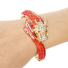 Fashion Flying Dragon Red Austrian Crystal Bangle Cuff Animal Gold Plated Women