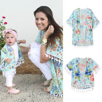Mommy And Daughter Family Matching Set Kimono Blouse Womens Girls Cardigan Tops