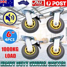 """4PCS 6"""" / 150mm Heavy Duty Swivel Caster Wheels Castor 1000KG,2 with Brakes OZ"""