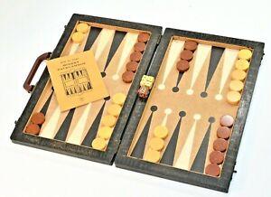 """Vintage 1930s Backgammon Set. 1.25"""" Bakelite Checkers & Bakelite Doubling Cube"""
