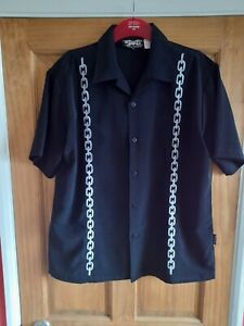 Dragonfly Classic Retro Bowling Shirt. Black with Chain Inset. Large. Ex Cond