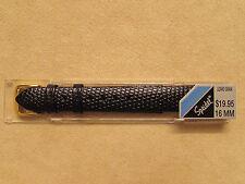 New Speidel 16mm Black Genuine Leather Lizar Grain Watch Strap