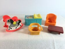 Vintage Fisher Price Little People Furniture - Rocking Horse Change Table Chair