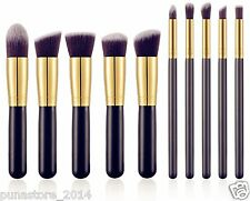 Kabuki Makeup Brush Set - 10 Brushes with Black Leather Case