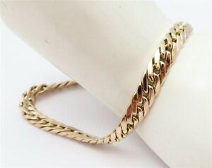 """14K Rose Gold ~6MM Wide Flat Curb Link Chain Bracelet 7.5"""""""