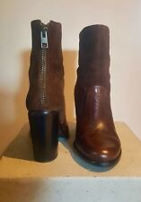 All Saints Ankle Boot Size 5 brown leather/suede high heel hardly worn