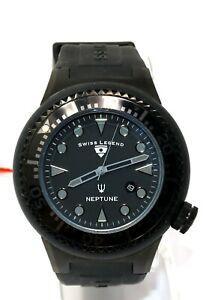 Swiss Legend Men's Neptune Black Stainless Steel Quartz Watch Silicone SL-21818