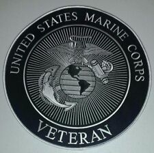 "US MARINE CORPS ""VETERAN"" LARGE 11 Inch  BACK PATCH CUSTOM BIKER / MILITARY"