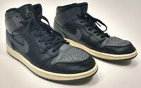 Men's Nike Air Jordan 1 Mid Black Dark Grey White Raiders Shadow 10.5 554724-041