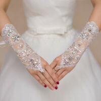 1 Pair White Lace Bridal Wedding Dress Gloves Elegant Wedding Accessories