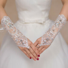 1 Pair White Lace Bridal Wedding Dress Gloves Elegant Wedding Accessories