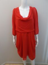 CITY CHIC RED,SHEER SLEEVE DRESS SIZE XS=14/16  (#J80)
