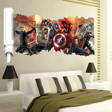 3D Wall Avengers Marvel Hulk Iron Man Thor Captain Wall Sticker Art Home Decal