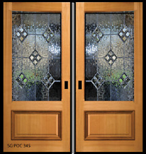 Beautiful Glass Solid Wood Pocket Door 3/4 Glass with raised Bottom Panel
