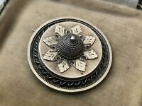 Antique Sterling Silver Domed Brooch Round Pin Aesthetic Victorian Jewellery