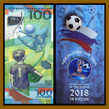 Russia 100 Rubles + 1st Colored Coin in Blister, 2018 Fifa World Cup Soccer, R5