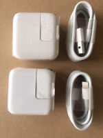 TWO SETs - 12 Watt 2.4 AMP Wall Charger for iPad USB and 8 pin sync CABLE