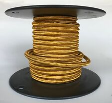 Gold Cloth Covered Cord, 2 Conductor Round Antique Style - 100 ft. Spool
