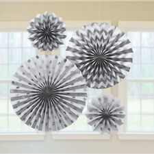 SILVER Metal PRINTED GLITTER FAN DECORATIONS (4) ~ Birthday Party Supplies