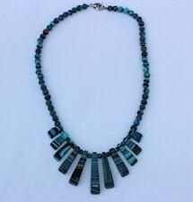 SOBRAL style Multi color hard plastic blue brown black beaded necklace
