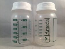 2pk Ameda Breast Milk Collection Storage Bottles W/ Lids Collar Disk 4 Oz/120 Ml
