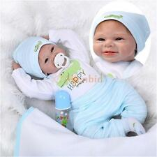 """22"""" Lifelike Baby Boy Girl Solid Silicone Reborn Newborn Dolls w/ Clothes US"""