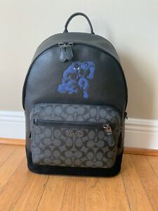 COACH X Marvel West Backpack Black Panther Sign Canvas Leather 2408 Retail $650