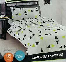 DOUBLE BED MAYHEM ' NOAH ' QUILT COVER SET. 180 TC.BLACK & FLURO YELLOW TRIANGLE