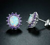 Fire Opal Crown Amethyst Stud Earrings in 18K White Gold Plating