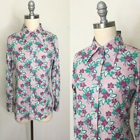 Vintage 70s Russ Togs Windowpane Floral Buttondown Size Small