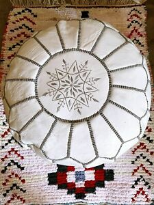 Pouf Moroccan Hassock Pooff Leather Genuine Ottoman Footstool Large Pouff NEW