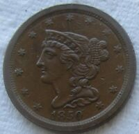 1850 1/2C Braided Hair Half Cent Rare Date AU Detail    We Have The Tough Dates!