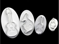 Music Theme Guitar Violin Trumpet Cookie Fondant Clay Cutter Plunger Mold Bento