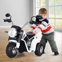 Kids Ride On Motorcycle 6V Toy Battery Powered Electric 3 Wheel Bicycle White