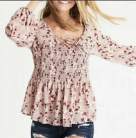 American Eagle Outfitters Rose Pink Purple Smocked Ruffled Floral Blouse Size XS