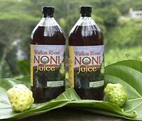 100% HAWAIIAN WAILUA RIVER NONI JUICE Certified Organic: Two Glass 32 oz Bottles