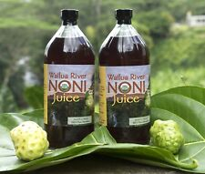 100% PURE HAWAIIAN WAILUA RIVER NONI JUICE: Two Glass Bottles, 32 oz each.