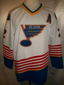 "Al MacInnis St. Louis Blues White & Blue ""1995-1998 Throwback"" CCM NHL Jersey"