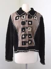 Sandy Starkman Black Brown Wool Tapestry Jacket Size M Crochet Nubby Knit Beaded