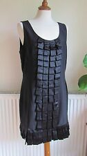 WAREHOUSE 100% Silk Black Dress Size 16
