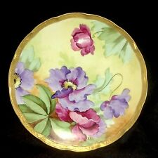 "Ginori Hand Painted Flowers Gilt Gold Trim 8 7/8"" Plate Vintage Italy Firenze"