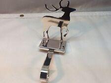 Chrome Reindeer Christmas Stocking Hanger. All Metal Stocking Holder