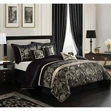 Grand Avenue Brie Silver/ Black 7-piece Comforter Set Black/Silver Queen