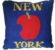 POTTERY BARN New York City Crewel Knit Embroidered Pillow w/ Insert 12 X 12 NEW