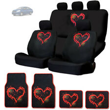 NEW RED HEART DESIGN FRONT AND REAR CAR SEAT COVERS FLOOR MATS SET FOR NISSAN
