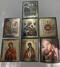RUSSIAN Orthodox ICONS x 7 Lithography Mother Of God, Eye Of God
