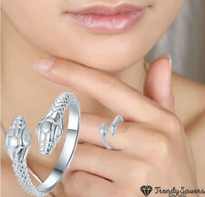Fashion Adjustable Cool Snake 925 Sterling Silver Plated Ring Retro Vintage Girl